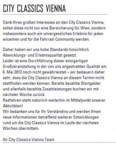 Absage der City Classics Vienna